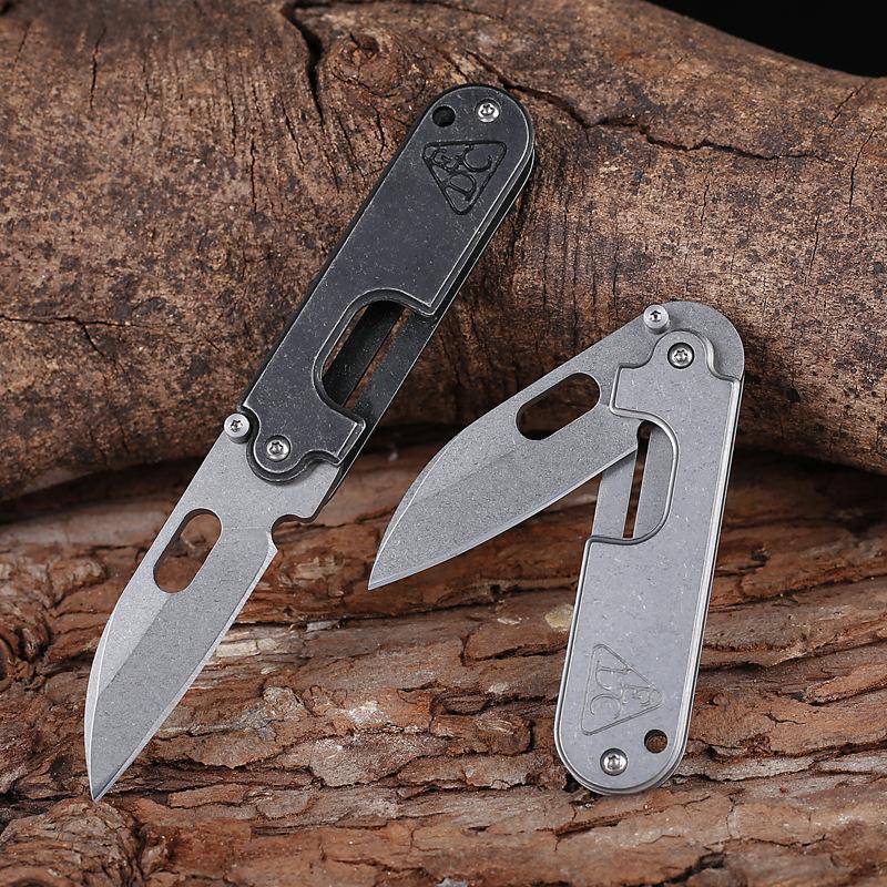 Große Qualität Stonewashed Edelstahlklinge Glatte Öffnung Stil Falten Mini Pocket Camping Wandern Multifunktionsmesser Männer Geschenkwerkzeug
