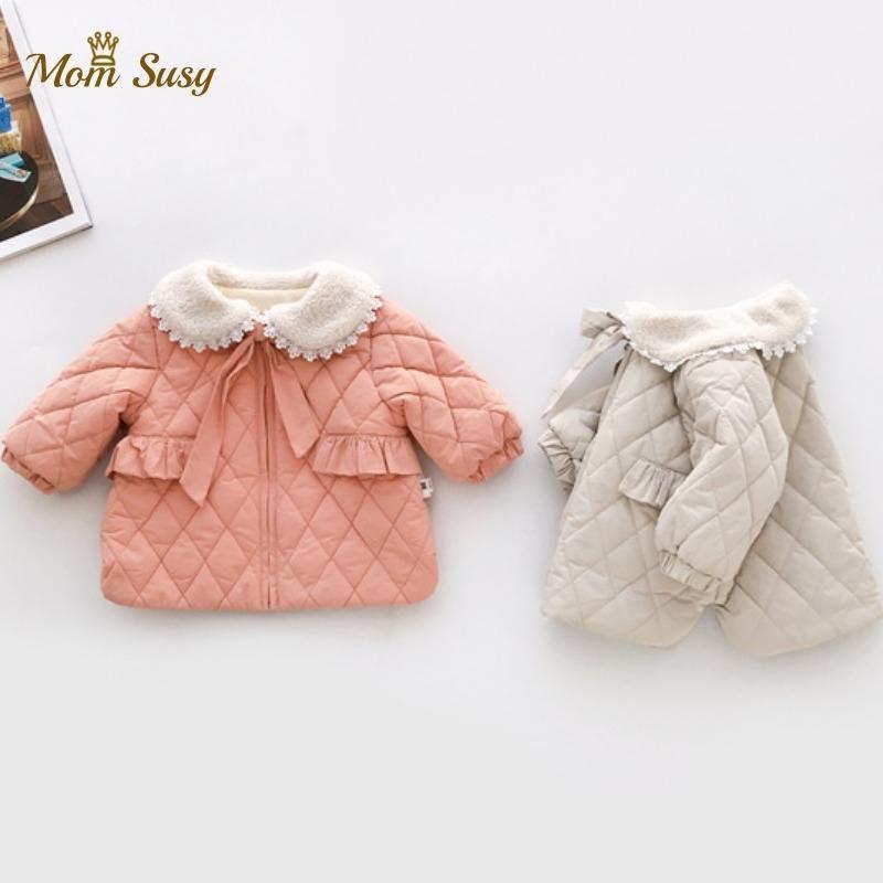 Baby Prinzessin Mantel Fleece Winter Neugeborenen Kleinkinder Kleinkind Daunenjacke Peter Pan Kragen Bogen Fleece Warme Outwear Baby Kleidung 201120