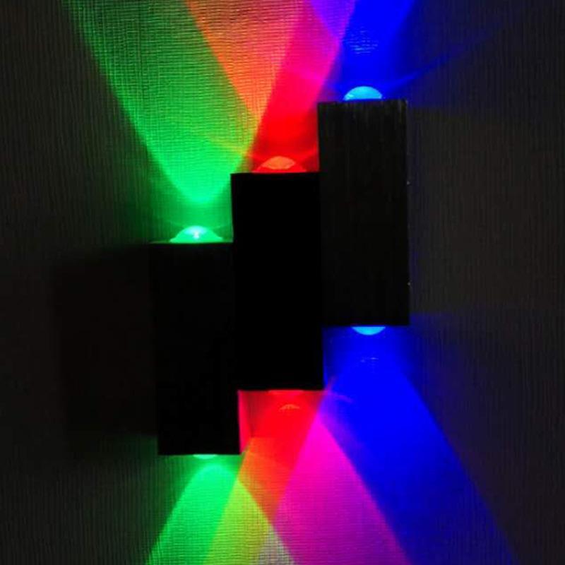 Family Wall Decor Lights Lights Living Room Hotel Disegno alluminio rosso verde e blu tricolore LED lampada decorativa 28ZL J2