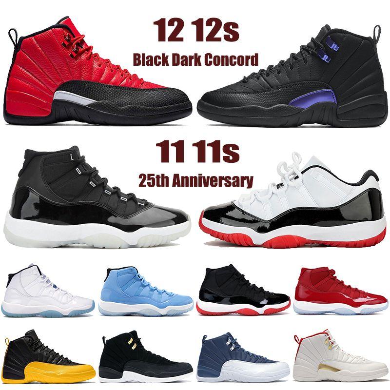 Nuovo 11 11s 25 ° anniversario Scarpe da basket 12 12s Nero Black Dark Concord Invery Influenza Game Indigo Basso Bianco Bred Bred Uomo Donna Sneakers