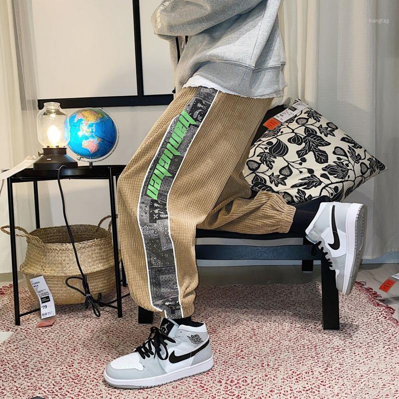 Pantalones para hombres 2021 Primavera y otoño Jóvenes Hombres Hong Kong Estilo Corduroy Flow Thick Shellpants Moda Pantalones casuales1