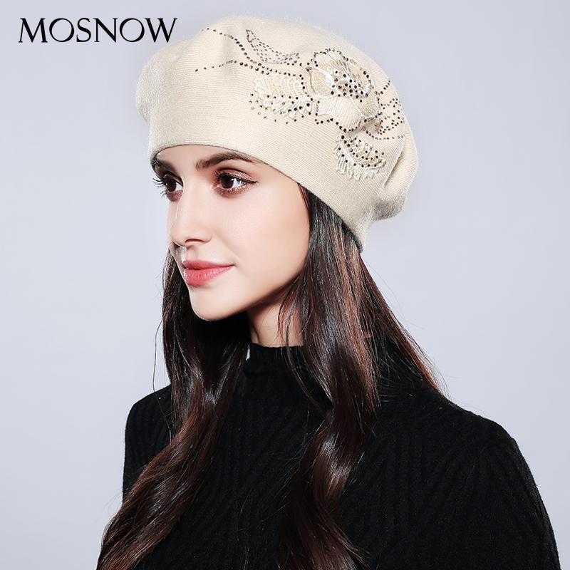 Береты Mosnow Connet Femme Женщины Берет Хломатную Шерстяной Бренд Трикотаж Мода Цветок Осень 2021 Зимние Шляпы для Caps # MZ741