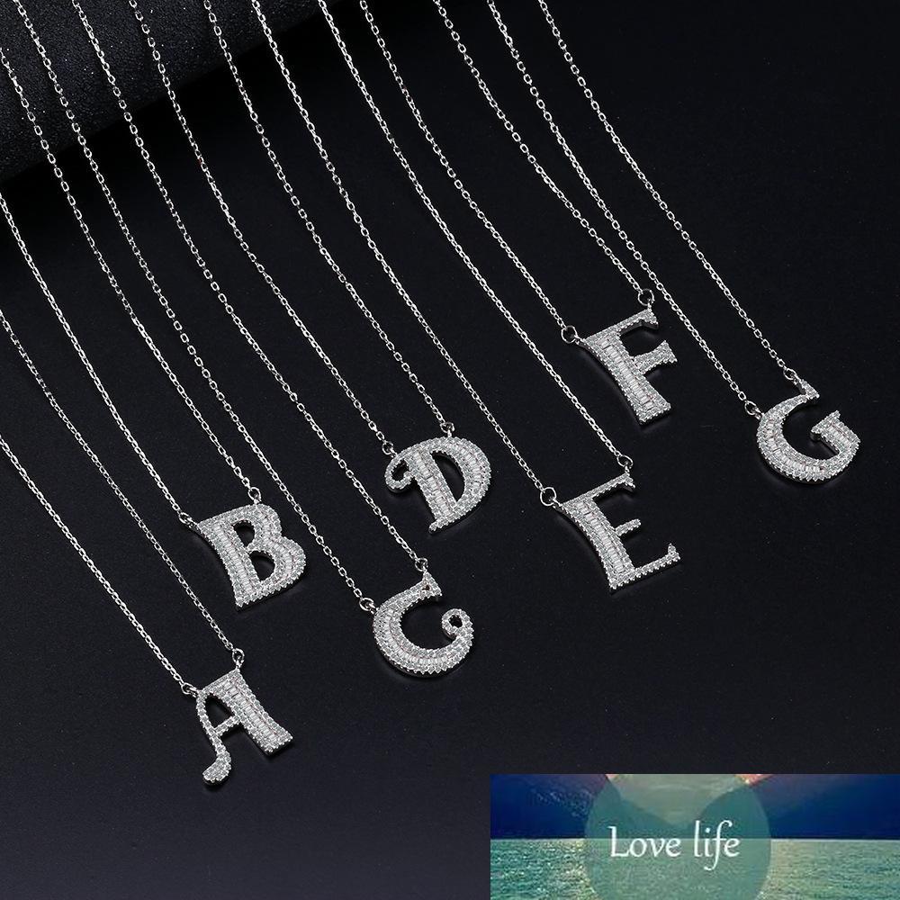 Yeni Varış Gümüş Kaplama Trendy 26 İngilizce Mektup Shine CZ Zirkon Bayanlar Kolye Kolye Takı Kadın Kısa zincirler