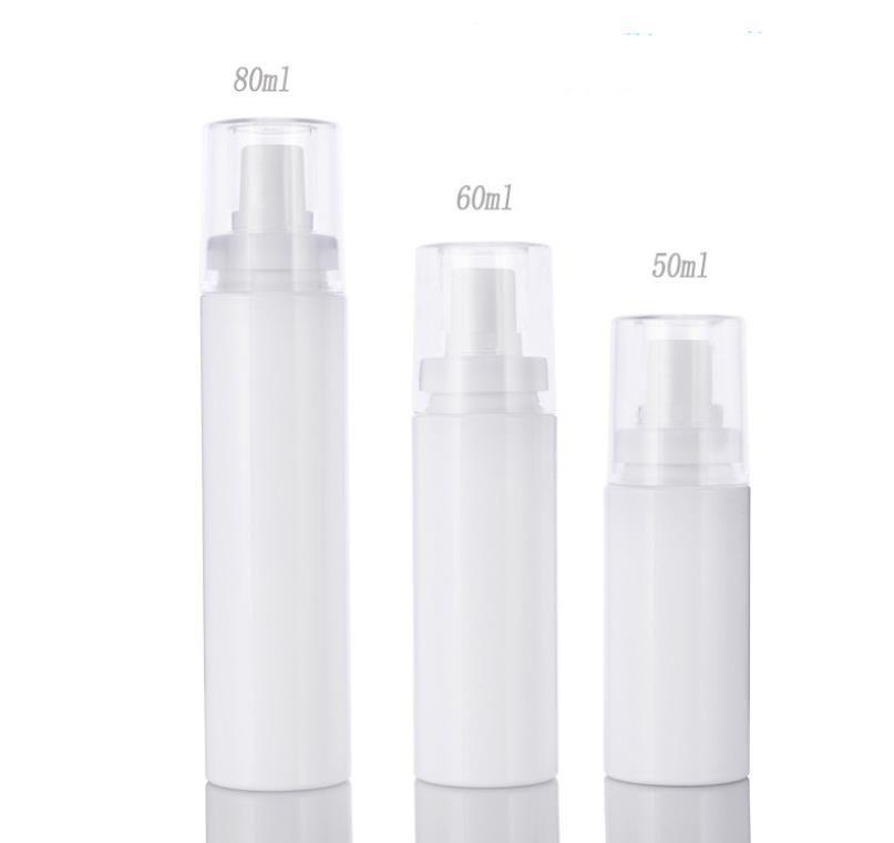 PET Spray Bottle Snap Bayonet Bottle Fine Mist Atomizer White plastic Pump bottle 50ml 60ml 80ml SN3550