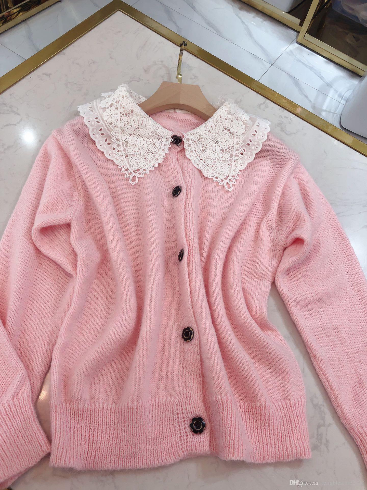 20 otoño invierno nueva colección dulce encaje pétalo pétalo tejido cardigan rosa lana blusa chaqueta mujer
