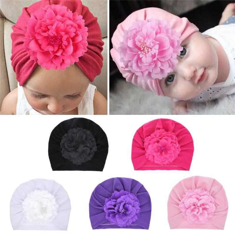 Newborn Baby Cap Children Knitted Hat Headwear Pearl Flower Flat Eaves Knitted Hat Elastic Pleated Hat Solid color Headcloth 39