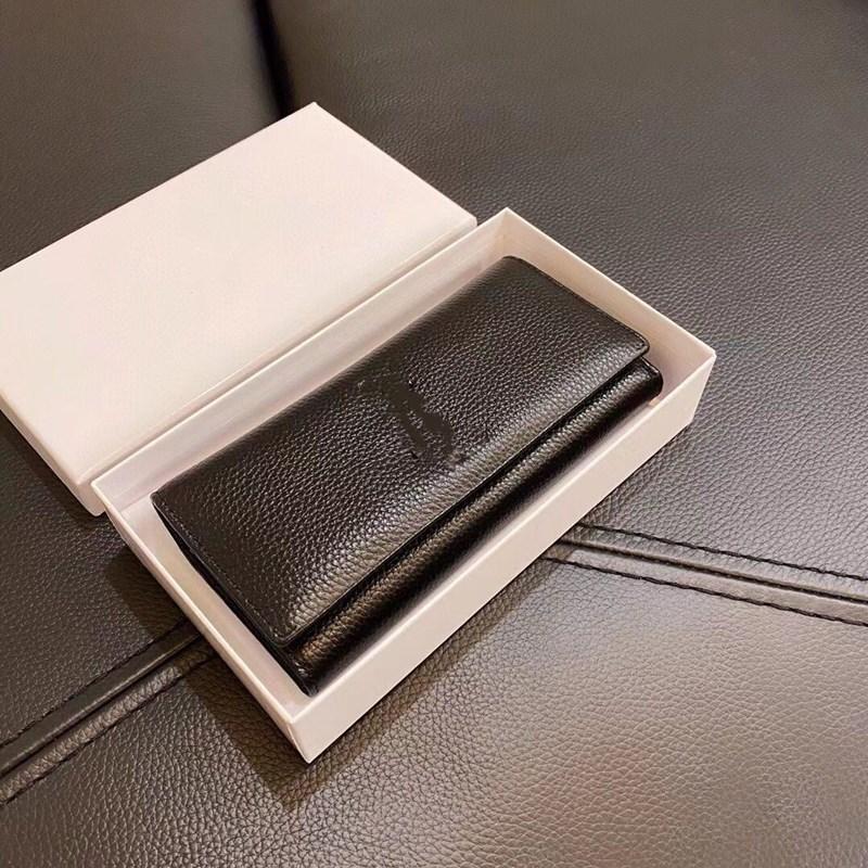 2020 Vintage nouveau cuir véritable femme Mode Mode Maintien de carte de crédit Boucle en métal Simple portefeuille rectangulaire portefeuille porte-monnaie porte-monnaie