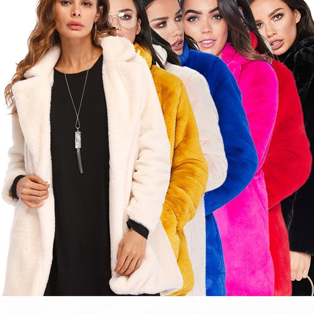 가짜 모피 코트 shaggy 재킷 솜털 겨울 코트 outwear 겨울 복장 부드러운 솜털 모피 이브닝 재킷