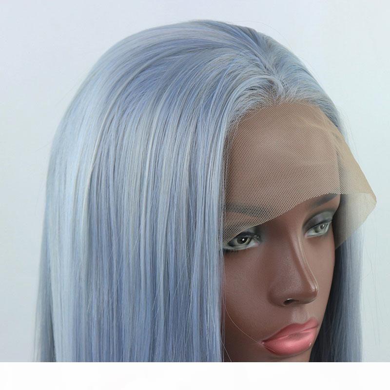Ombre Light Blue Mix Mish Grigio Lungo Dritto Mano Straight Legato Parrucca anteriore anteriore in pizzo sintetico Glueless resistente al calore Capelli in fibra per capelli bianchi Nero Parrucche