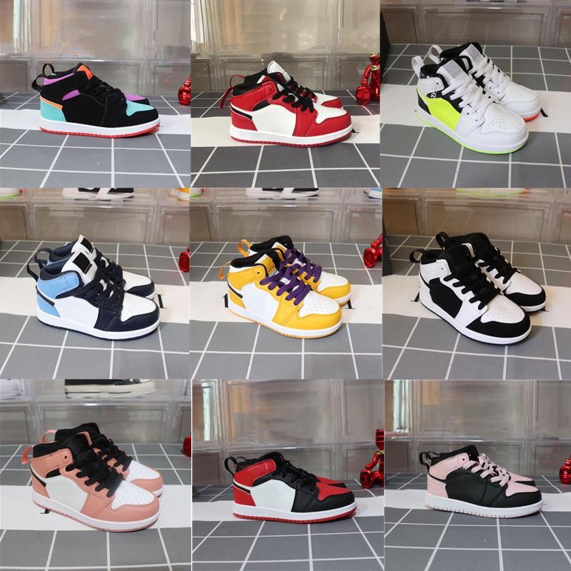 Kız Erkek Bebek Yürüyor Koşu Ayakkabıları Çocuklar Ayakkabı Üst J 1 Oyunları Obsidiyen Chicago Bred Sneakers Melody Orta Çok Renkli Tie-Boya Çocuk Ayakkabı