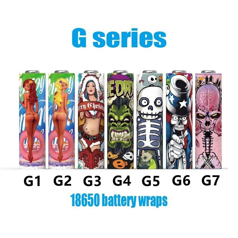 7 Types Battery Wraps Cover Skin Pre-wrap 18650 Series Shrink Wrapper PVC Sticker Shrinkable Sleeve Pre-wrapping Heat Resistant Vape Accessories For Batteries