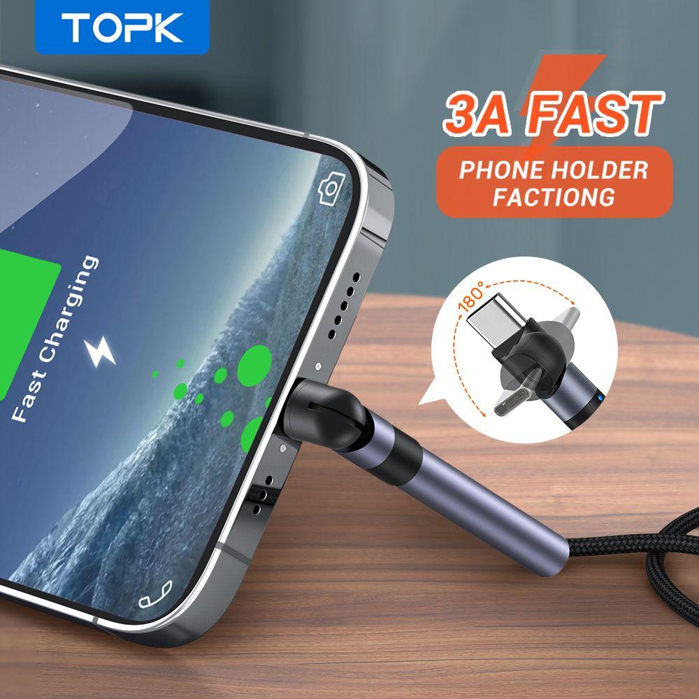 Topk AN26 3A مايكرو USB نوع C كابل سريع شحن 3.0 حامل الهاتف شحن سريع نوع C USB C كابل لسامسونج Xiaomi كابلات الهاتف الخليوي FY7436
