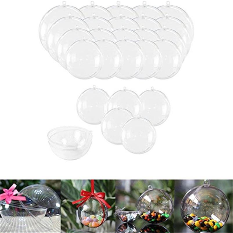 Decorações de Natal Abertura Transparente Plástico Bola de Natal Baubles 4cm a 14cm Árvore de Natal Ornamento Festival De Partido Clear Bolas