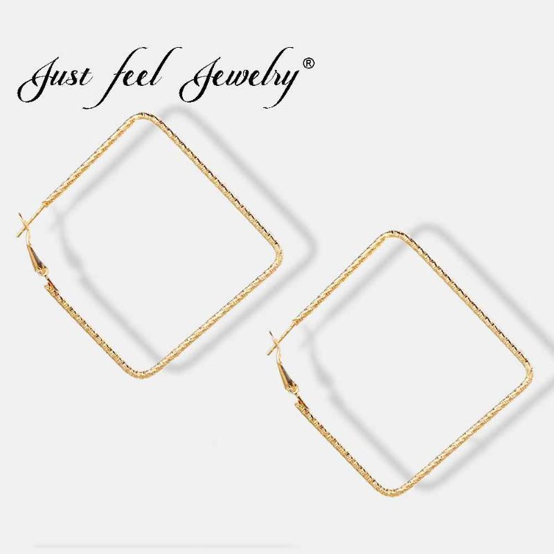 Просто почувствуйте 2020 панк 65 мм большой металлический квадратный обруч Серьги для женщин Мода Maxi Ювелирные Изделия Pendientes Boho Геометрическая простая серьга1