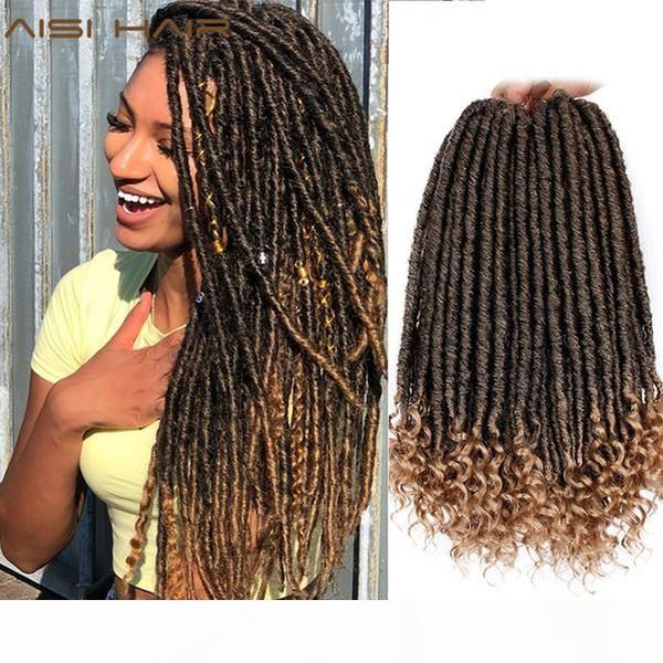 Dread Loc Faux Loc Aisi Déesse Faux Locs Dreads Crochet Braids Extension de cheveux Synthétiques 16 pouces Soft Naturel 24 Stands Pack