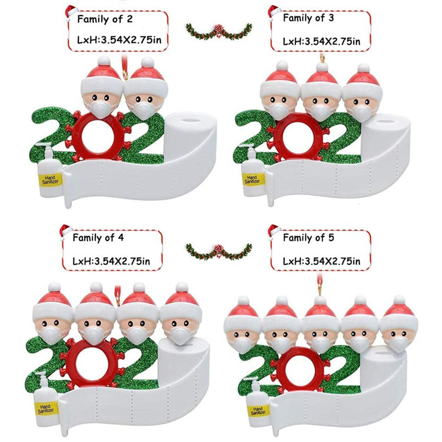 2020 Quarantine Christmas Decoration Birthdays Party Gift Product Personalized Family Of 4 Ornament Pandemic with Face Masks Hand Sanitized