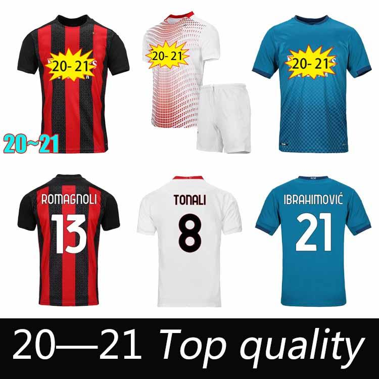 NUEVO AC MILAN 2020 SOCCER JERSEY Ibrahimovic Paqueta Bennacer Romagnoli Calhanoglu 2021 Camisa de fútbol Tonali Rebic Maillot Hombres + Kit Kids