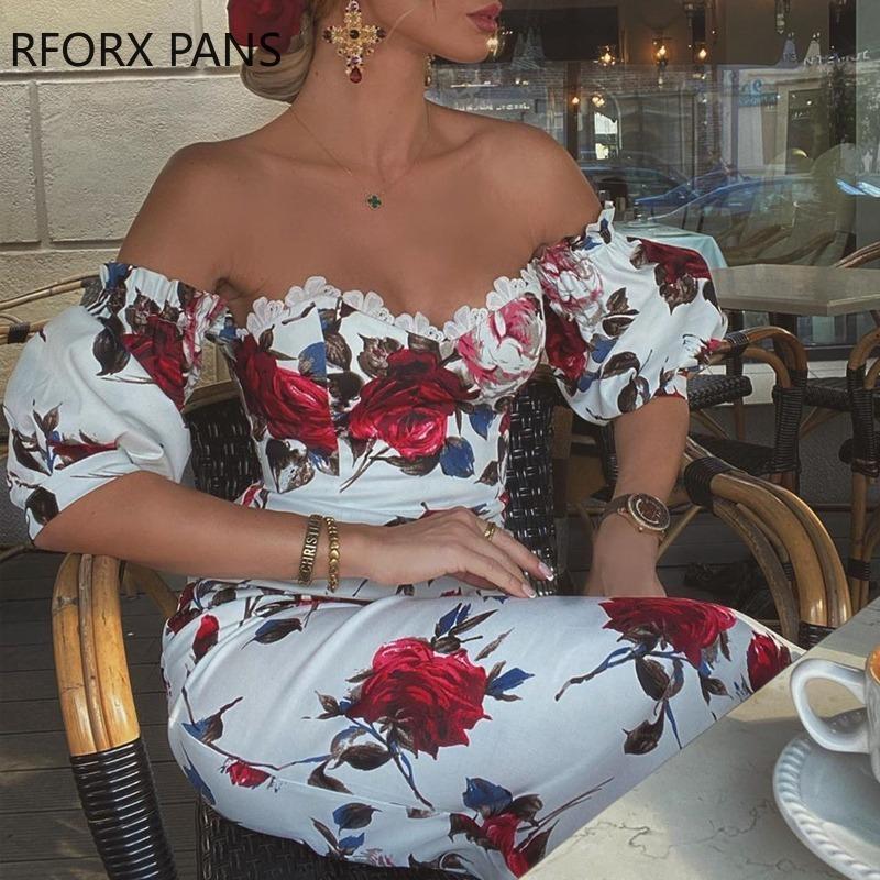 Kadınlar Kısa Kollu Çiçek Baskı Dantel Trim Midi Elbise Bodycon Seksi Parti Elbise Ücretsiz Kargo