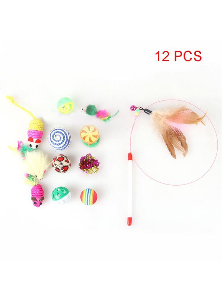 12 PCS / SET CAT KITTEN TOYS ASSORTATIONS DE TEASER PLUS DE MICE PLUSIEURES Boules colorées et cloches pour chat Fournitures JK2012PH