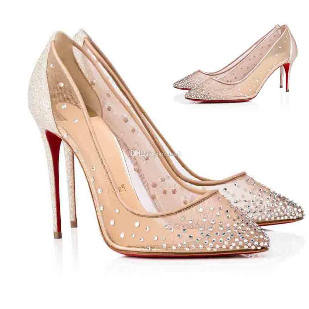 Luxurys designers malha strass sapatos para mulheres saltos, vestido de festa de casamento mulher bombas sandálias inferior salto alto follies top strass