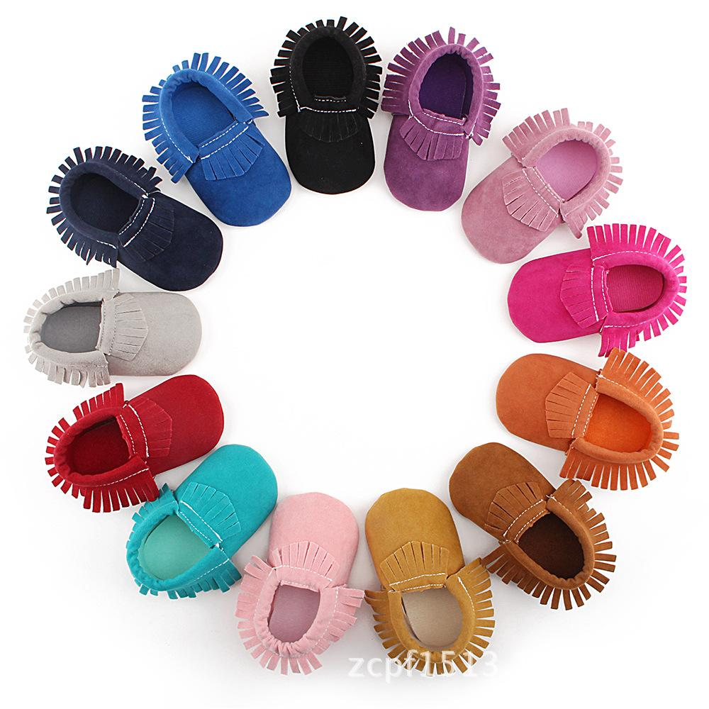 Quasten 14-farbe PU-Leder Babyschuhe Neugeborene Schuhe Weiche Säuglinge Krippe Schuhe Sneakers Erster Wanderer