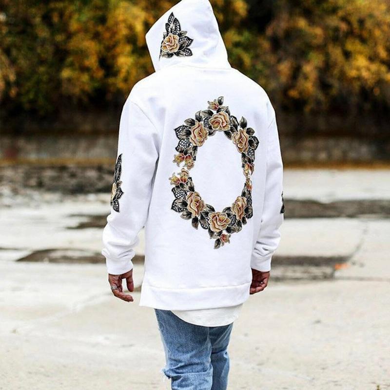 Automne Nouveau design Flower Print Sweats à capuche Hommes Hip Hop Chroy Mens Sweat à capuche Homme Sweat-shirt Streewear Hombres Sudaderas