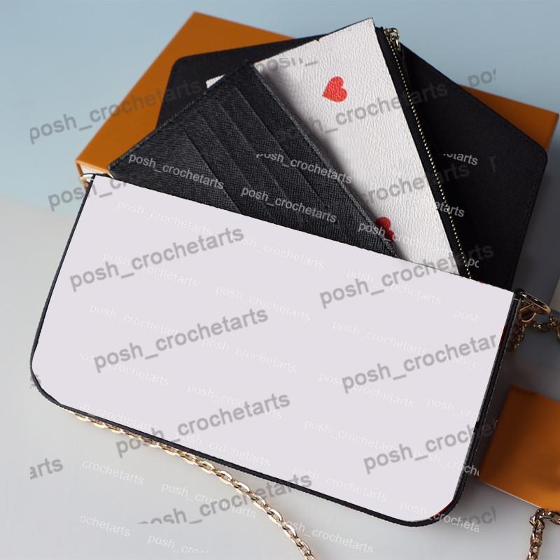 3PCS porte-carte Felicie Card Vente Portefeuille Pour Poker Imprimer Box Set jeu sur l'embrayage avec des sacs à main à main avec KVJIH pour femmes