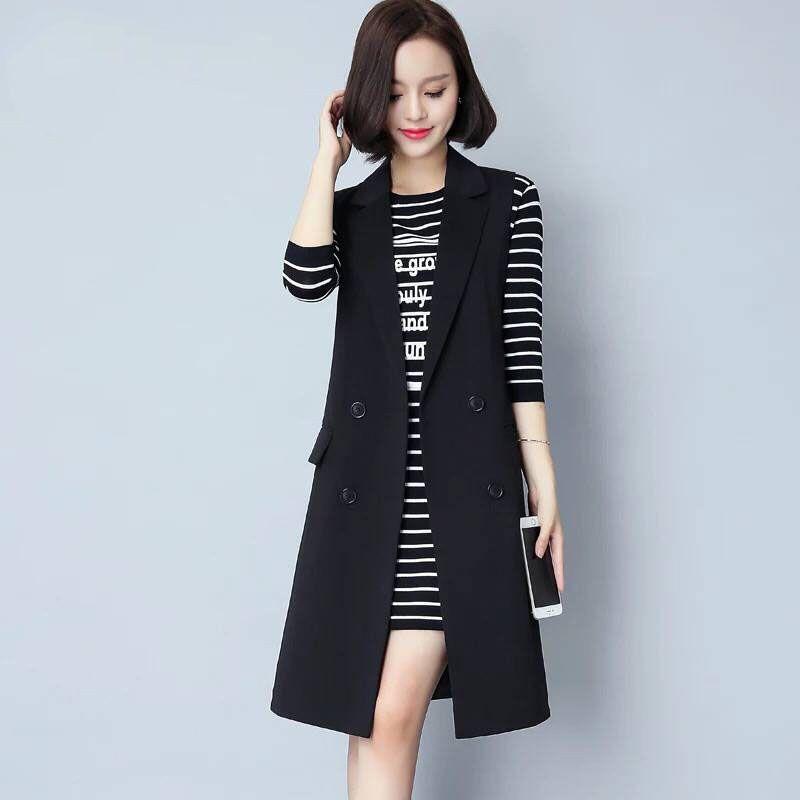 Femme Printemps Automne 2021 Mid-Longueur Gilet Veste Grande Taille Bureau Lady Black Long Vest Outwear Work Office Coat Femmes