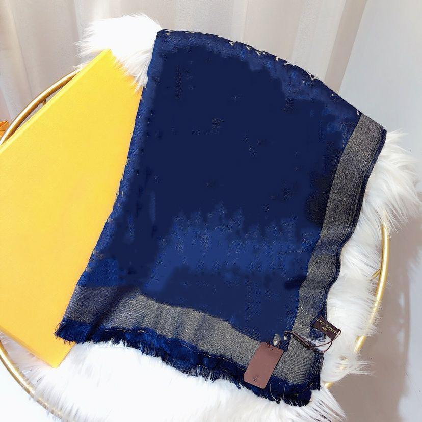Qualità Brand Cotton Wool Sciarf Moda Bright Gold Thread Jacquard Sciarpa Long Scialle 180x70cm Marca Etichetta