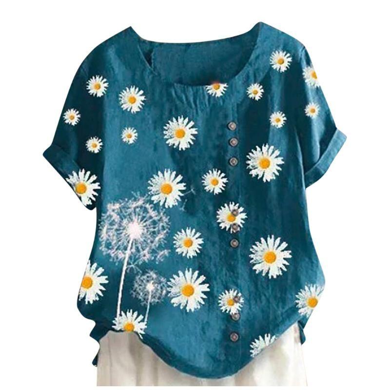 Vintage Algodón Lino Camisa Camisa Blusa Summer Casual O Cuello Imprimir Camisas Blusa Elegante Botón Manguito Corto Suéteres Tops 3XL
