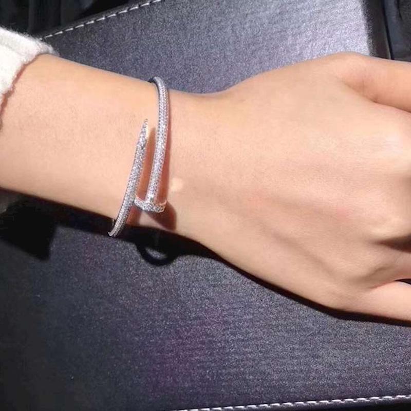 Nessuna scatola Braccialetti di San Valentino Braccialetti Donne 18K Braccialetto con braccialetto placcato oro per amante Regalo gioielli diamante pieno di amante 16.5 cm
