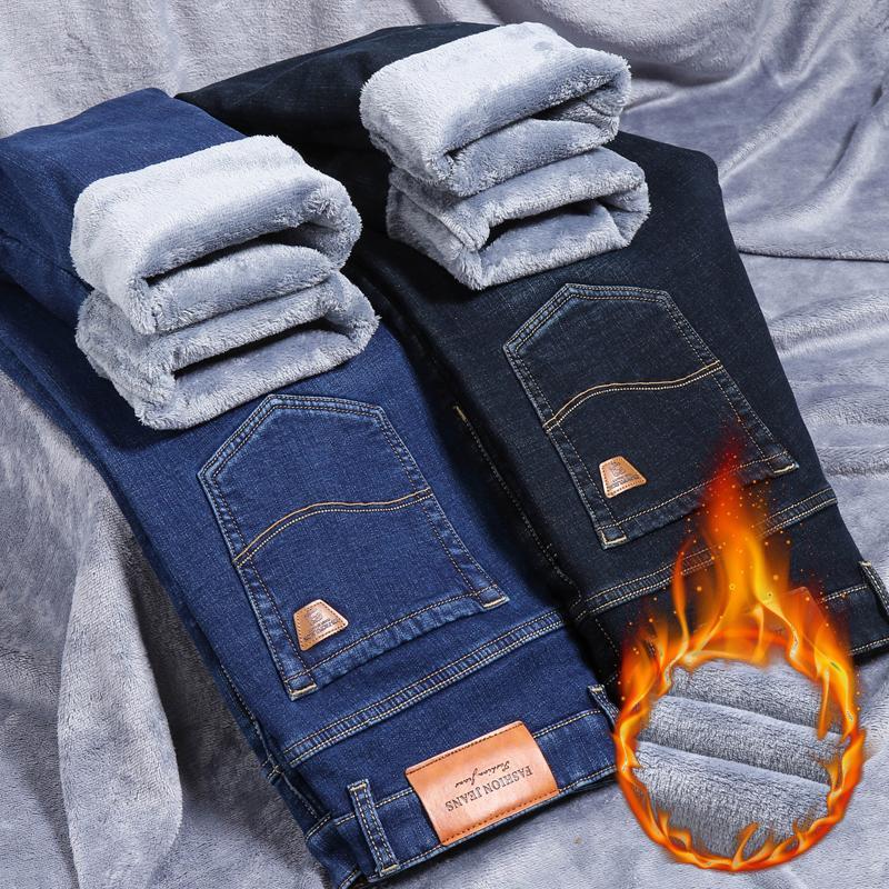 Inverno Men's Fleece Black Blue Jeans 2020 Nuovo Business Casual Caldo Addensare Slim Fit Stretch Denim Pantaloni maschili Brand Pants 1120