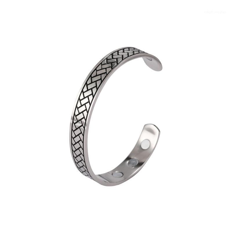 Braccialetto in acciaio inossidabile di forma in acciaio inox di forma di mattoni retrò in acciaio inossidabile Minimalist Braccialetto in acciaio inox per la vendita1