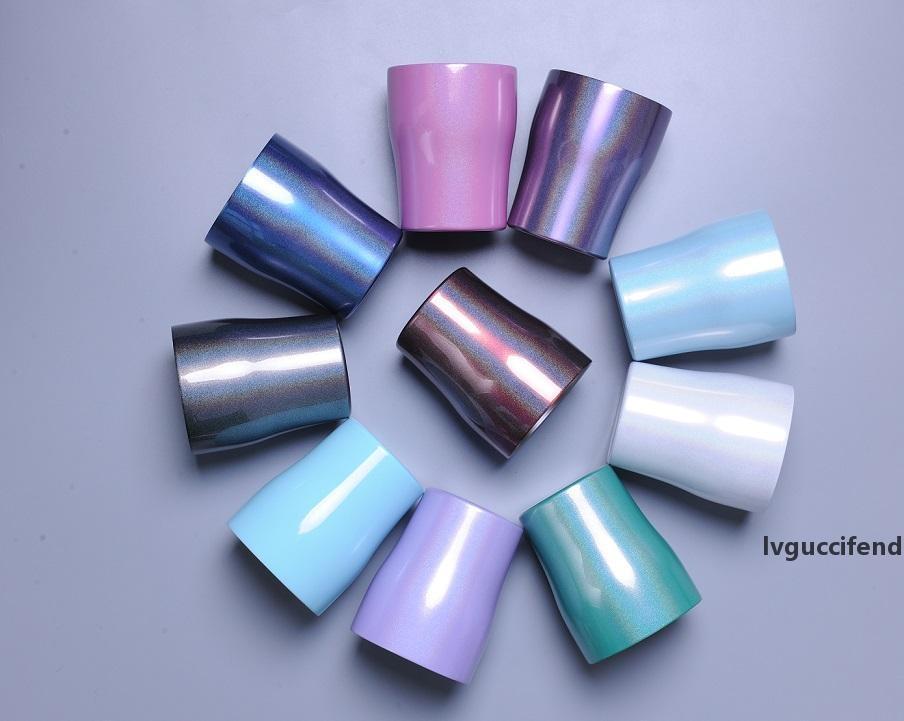 FedEx 10oz Rainbow Tumblers из нержавеющей стали из нержавеющей стали бокалы чашки разбитых вакуумных изолированных чашек Многоцветные винные кружки детские подарки с крышками