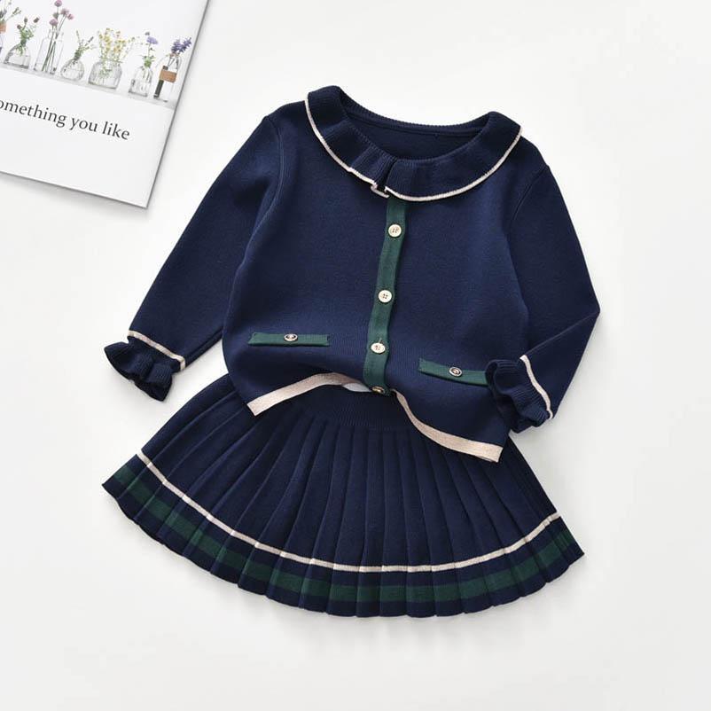 INS fashion sweater girls suits princess knitting sweater+Pleated skirts 2pcs/set girls outfits kids dress suits kids clothing B3432