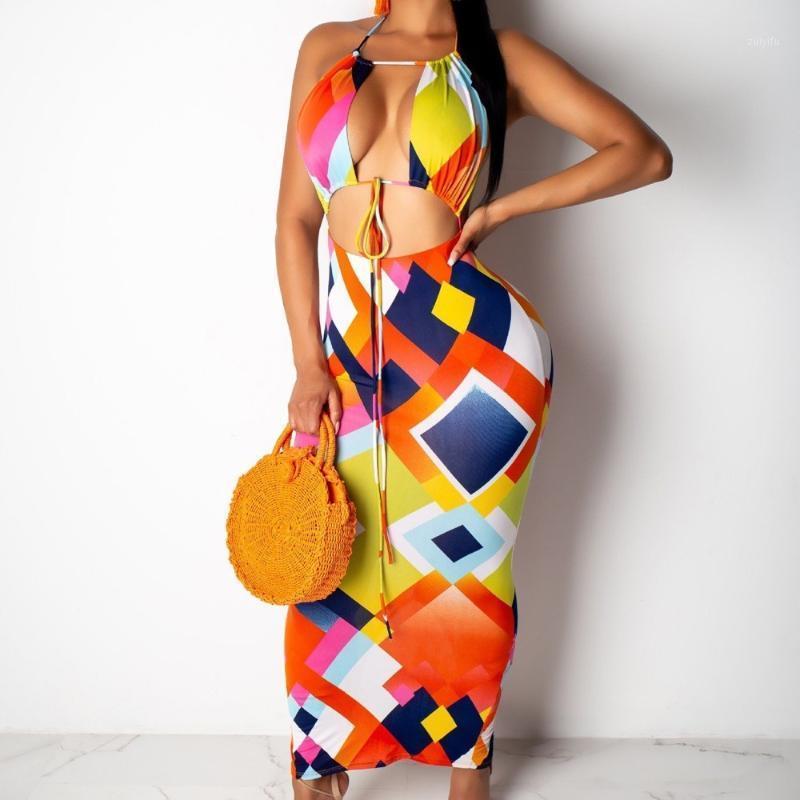 Seksi Yaz Kıyafetleri Baskılı Iki Parçalı Set Kadın Halter Lace Up Kırpma Üst + Yüksek Bel Uzun Etekler Plaj Clubwear Eşleştirme Setleri1