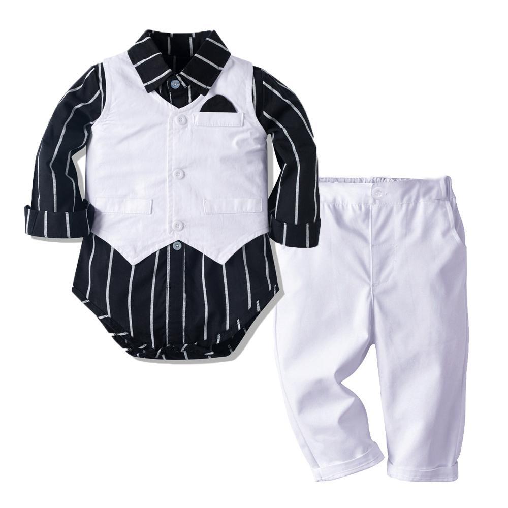 Baby-Kleidung Junge Hochzeit Smoking Anzug Newborn Bodysuit + Pants + Vest Outfits Set Gentleman Geburtstags-Geschenk-schwarze gestreift Y1113