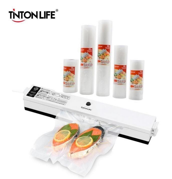 Sellador de alimentos de vacío Tinton Life con 5 rollos Bolsa de sellador de vacío (12x500cm, 15x500cm, 20x500cm, 25x500cm, 28x500cm) FY7385
