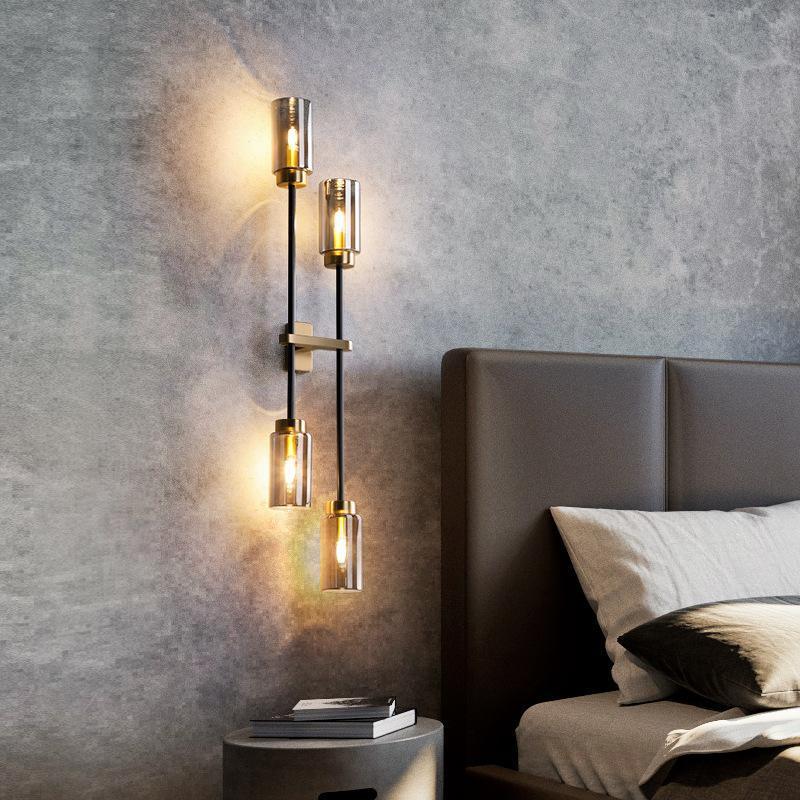 New Light Luxury Wall Lamp Post Modern Living Room TV Lámpara de pared Hotel Chalet Designer All Copper Dormitorio Cama