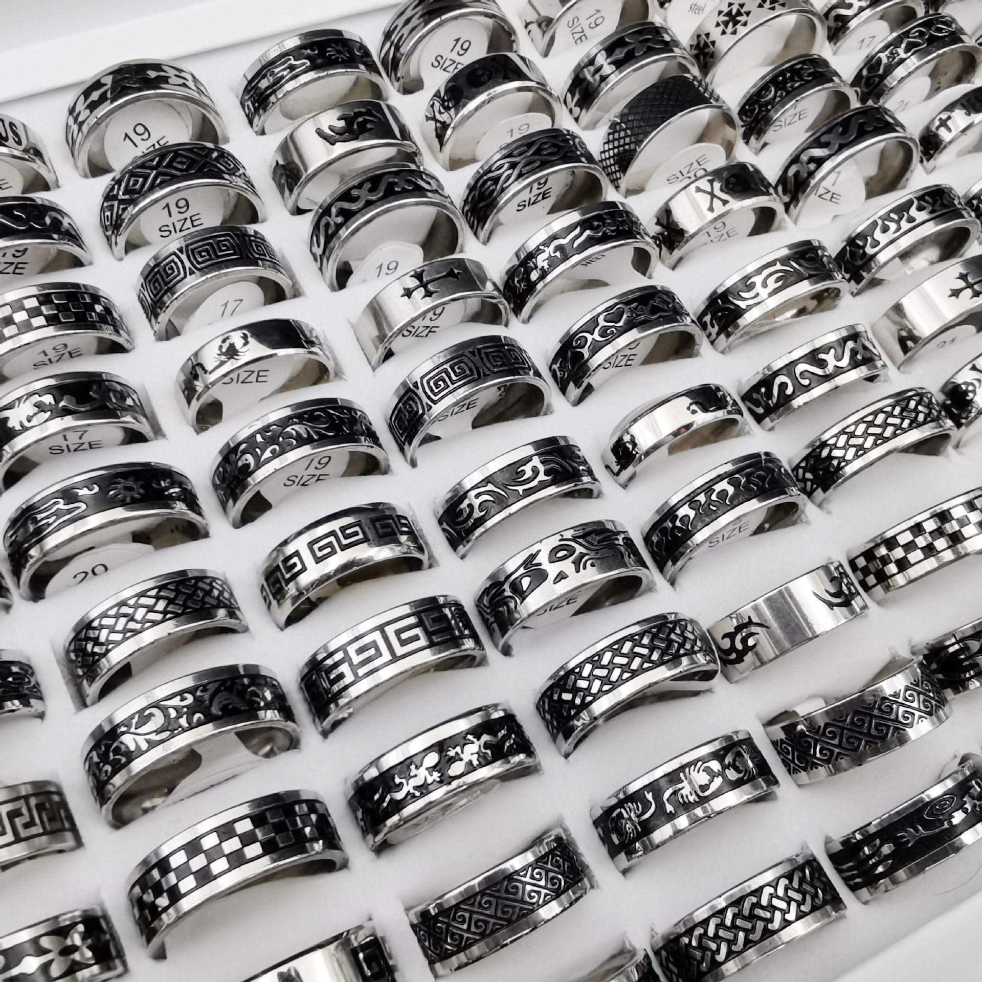 50 pcs / lot 빈티지 레트로 스타일 남성과 여성을위한 스테인레스 스틸 링 패션 라운드 펑크 반지 선물 액세서리 도매