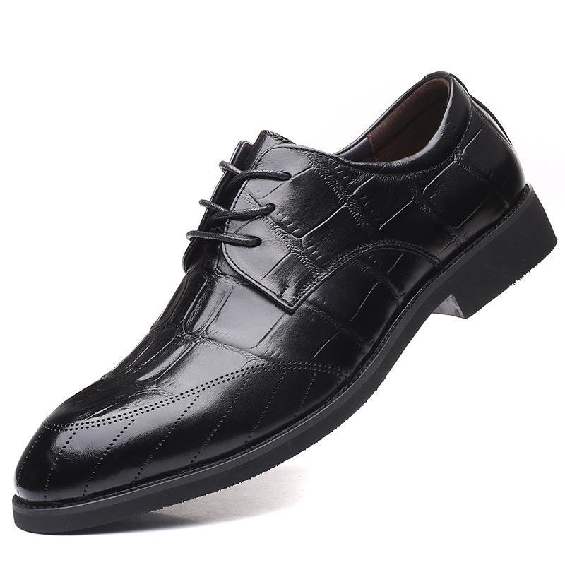 2020 nueva manera caliente 37-44 de los zapatos ocasionales de los hombres de los hombres zapatos de cuero de zapatos de goma británicos nuevo envío libre de Alpargatas # 20