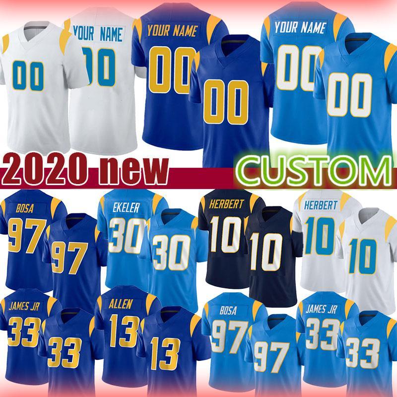 30 أوستن Ekeler Los Football Angeles Custom Jersey Ladainian Tomlinson Kenneth Murray Junior Seau Joshua Kelley Cole Mazza Tyrod Taylor
