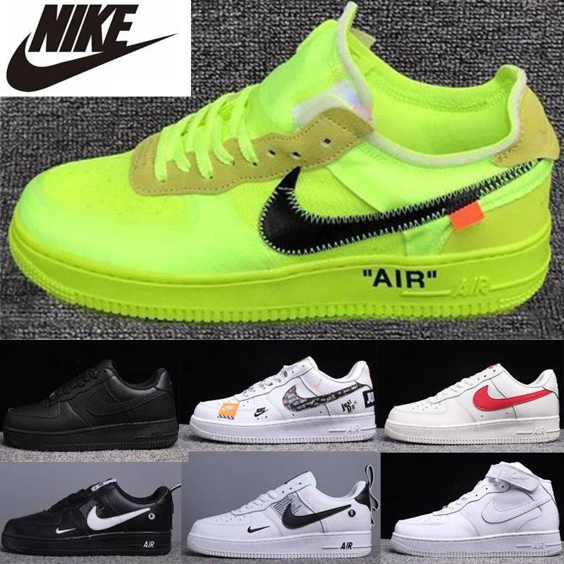 Réagir 1S Mens Femmes Chaussures Casual Af max 1 Forces Airmaxs Noir Blanc Blanc Rouge Olive Volt Habanero Sneakers Taille 36-45