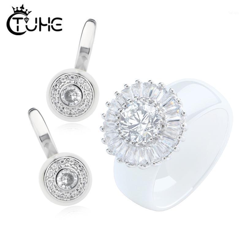 Ensembles de bijoux de mariée pour femmes accessoire Cubic Zircon Crystal Hearlty Anneaux céramiques Goujons Boucles d'oreilles Ensemble cadeau de Noël1