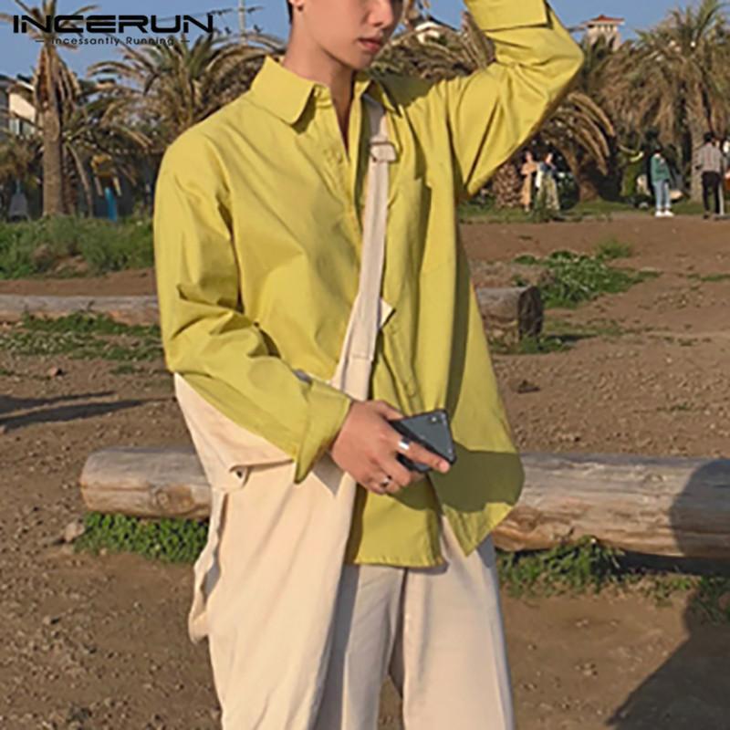 Mode Umdrehende Kragen Baumwollhemd Infaun Mens Feste Farbe Langarm Hemden Koreanische Art Pocket Bluse Lose Camisa 5xl 7