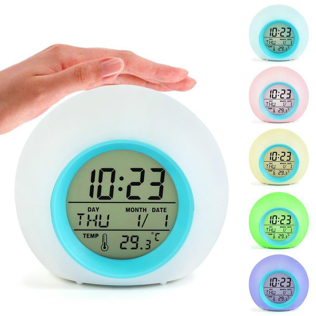 7 ألوان الصمام تغيير مكتب المنبه الرقمية ميزان الحرارة بات ليلة الخفيفة متوهجة مكعب LCD ساعة الديكور المنزلي درجة الحرارة