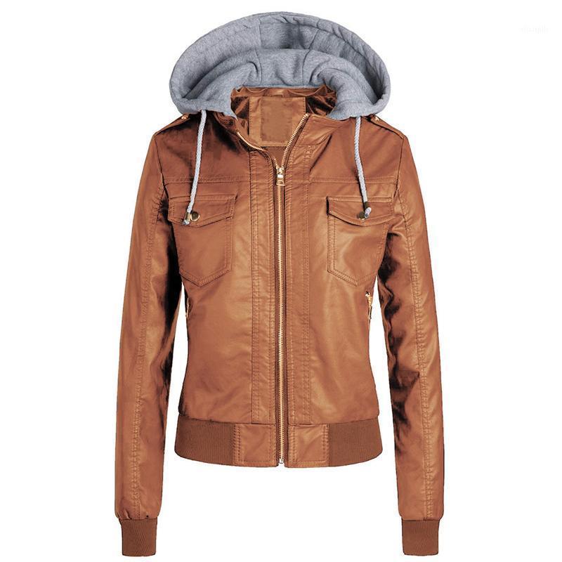 Женская кожаная искусственная готическая толстовка женская зимняя осень мотоцикл куртка PU 2021 слой флис куртки1