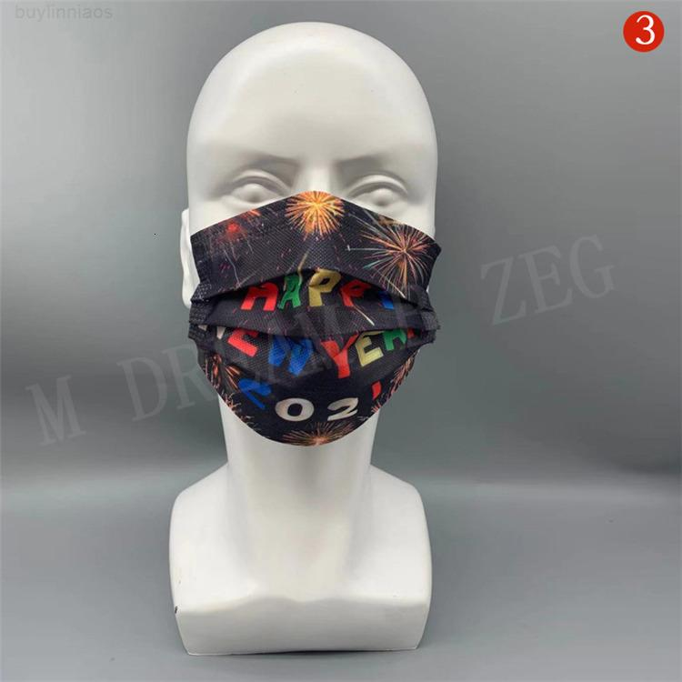 FaceMask 2021 Feliz Ano Novo Desenhador Descartável Decorações de Natal Masque Festa Masks 3-PLY Dustproof Mask