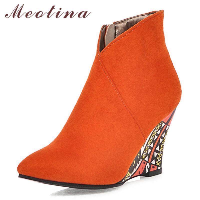 Botas Meotina Autumn Tobillo Mujeres Zipper Cuña Tacones Puntas de punta puntiaguda Super High High High Shoes Damas Winter Plus Tamaño 34-43