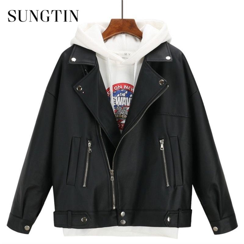 Sungtin мягкая свободная из искусственной кожи из искусственной кожи женские черные байкер мотоцикл пальто осень зима PU короткая уличная одежда панк панк-парень стиль Y201012